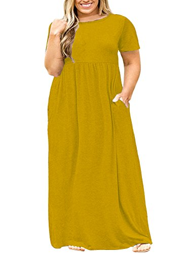 Nemidor Women Short Sleeve Loose Plain Casual Plus Size Long Maxi Dress with Pockets (Yellow, 20W)