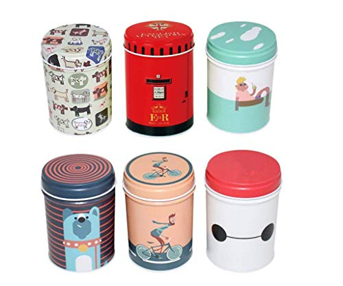 Leoyoubei 3.55x2.55 inch Lovely Cartoon Tinplate Caddy Box Retro Double Cover Home Kitchen Storage Containers Colorful Tins Round Tea Coffee Tins Set of 6