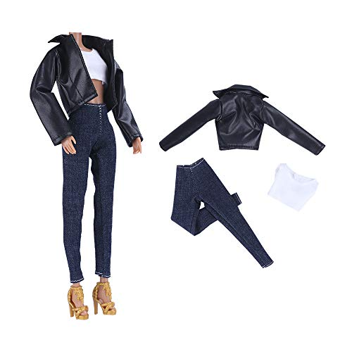 E-TING Leather Coat Suit Cool Wild Motorcycle Style Couple Clothes for 11.5″ Girl Dolls and 12″ Ken Doll