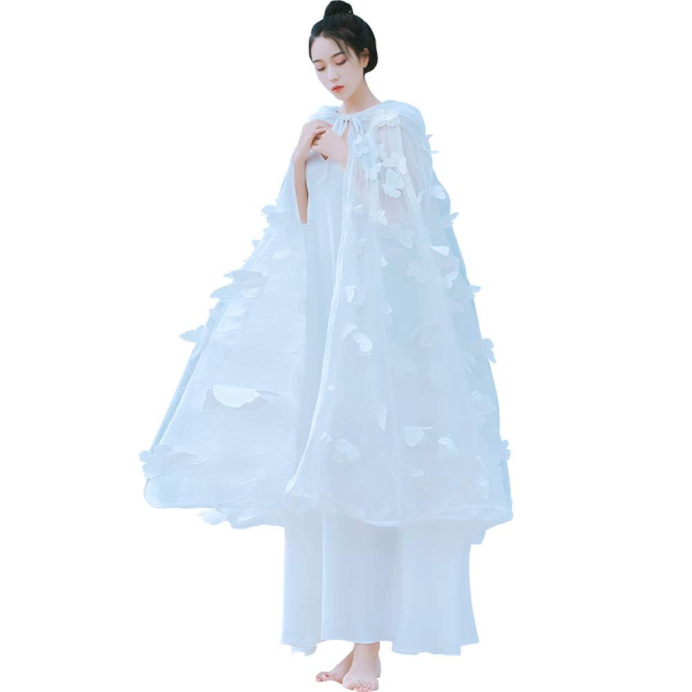 L Cxlyq Dress Summer White Stereo Butterfly Hooded Cape Fairy Skirt Two-Piece Seaside Vacation Female