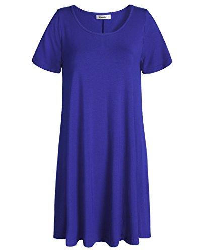 Esenchel Women's Swing T-Shirt Dress Short Sleeve Casual Dress 2X Royal Blue