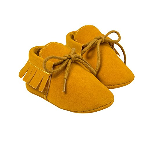 ESHOO Lovely de primera Walking zapatos de borla borla de zapatillas para bebé Prewalker Dark Coffee Talla:0-6 meses amarillo