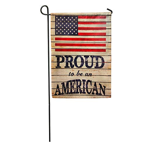 (Semtomn Garden Flag 4Th American Flag and Proud to Be on Wood Board Home Yard House Decor Barnner Outdoor Stand 12x18 Inches Flag)