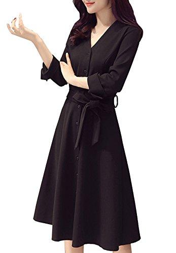 住所騒々しい瞳[PEACE LAND(ピースランド)] Vネック フレア ワンピース 上質 膝丈 ブラック フォーマル 礼服 結婚式 発表会 レディース
