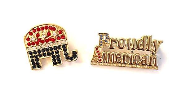 HamptonGems American Republican Elephant PIN RED//White//Blue Crystals