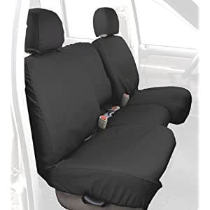 Covercraft SS3381PCCH Custom-Fit Front Bench SeatSaver Seat Covers - Polycotton Fabric, Charcoal Black