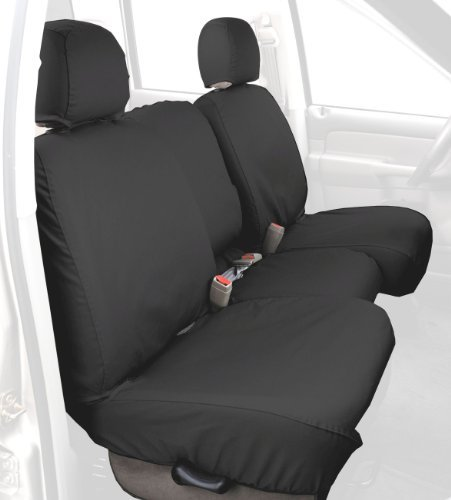 Covercraft SS3381PCCH Custom-Fit Front Bench SeatSaver Seat Covers - Polycotton Fabric, Charcoal Black ()