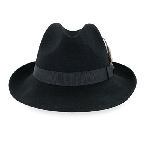 Belfry Bogart 100% Wool Men's Dress Fedora in 5 Colors (Large, Black)]()