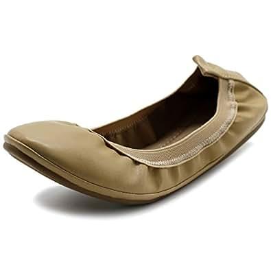 Ollio Women's Shoe Comfort Ballet Flat BN17(6 B(M) US, Beige)