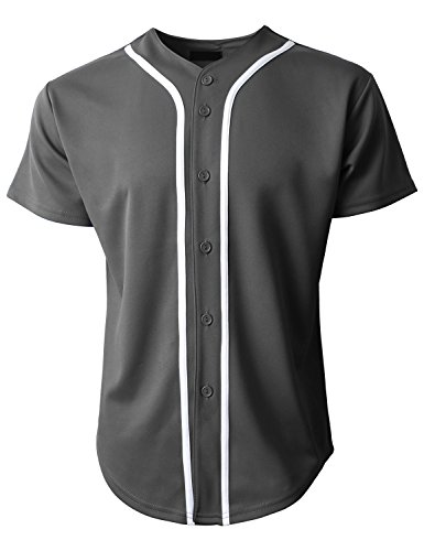 Hat and Beyond KS Mens Baseball Jersey Button Down T Shirts Plain Short Sleeve S-3XL 1KSA0002 (X-Large, Charcoal/White) Full Button Adult Baseball