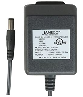 AC to AC Wall Adapter Transformer 12 Volt @ 1000mA Black Straight 2.1mm Female Plug