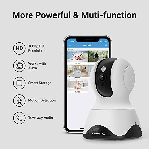 Home Security Camera, Enow-YL Baby Monitor Wireless Pet IP Camera 1080P HD Indoor  Wifi Dome Camera with Motion Detection Night Vision 2 Way Audio Cloud Service, Work with Alexa (White)