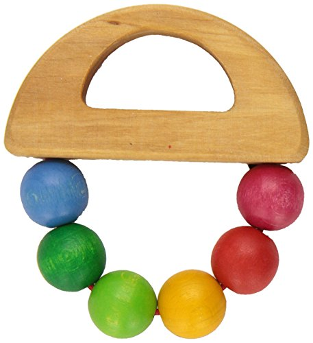 Grimm's Rainbow Boat Wooden Beads Grasper - Baby Teething & Grasping Toy, Handmade in Germany