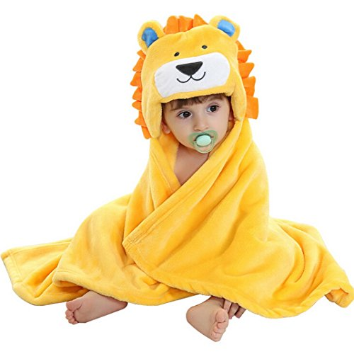 Lion Hooded Towel (Happy Cherry Cute Infant Baby Flannel Wrap Blanket Soft Baby Bath Hooded Towel - Lion)