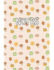 Kawaii Cottagecore Notebook: Kawaii Cottagecore Frog Blank Lined Notebook
