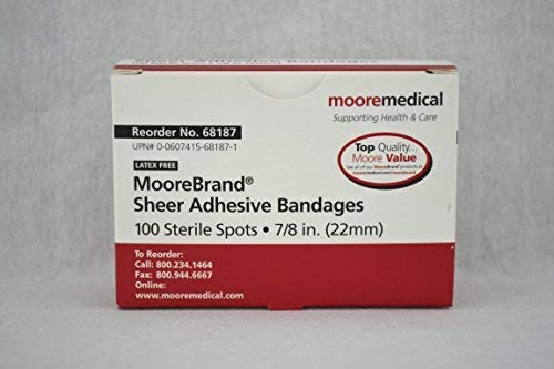 Moore Medical Adhesive Bandages - Sheer Plastic Spots, 7/8 - Model 68187 - Box of 100 by MOORE Medical