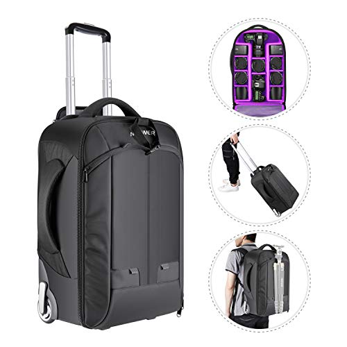 Neewer 2-in-1 Convertible Wheeled Camera Backpack Luggage Trolley Case with Double Bar, Anti-shock Detachable Padded Compartment for SLR/DSLR Cameras, Tripod, Lens and Other Accessories (Black/Purple) (Best Camera Bag For Weddings)
