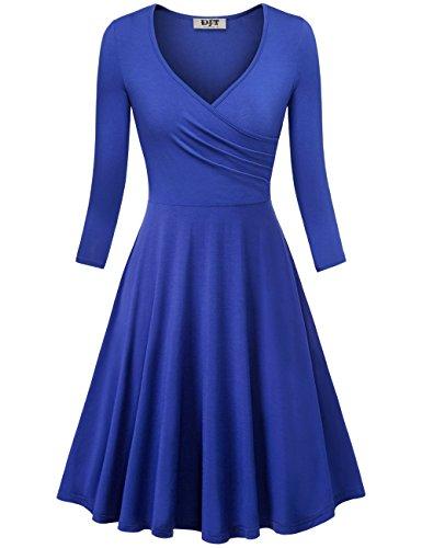 Djt V Le Cou De La Femme De Mode 3/4 Manches D'une Robe Vintage Swing Torche Ligne Bleue
