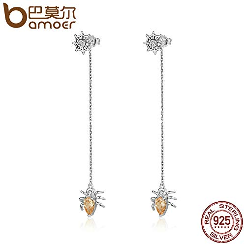 Fashion New Genuine 925 Sterling Silver Sparkling CZ Spider Long Drop Earrings for Women Sterling Silver Jewelry SCE170