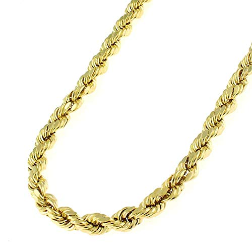10k Yellow Gold 4mm Hollow Rope Diamond-Cut Link Twisted Chain Necklace 20