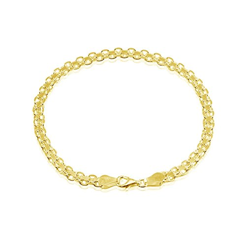 (Yellow Gold Flashed Sterling Silver 4mm Bismark Chain Bracelet, 8 Inches)