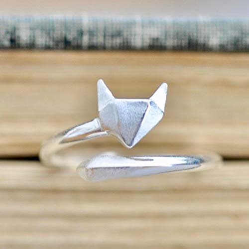 Origami Fox Ring in Sterling Silver Size SMALL (4.5-7)