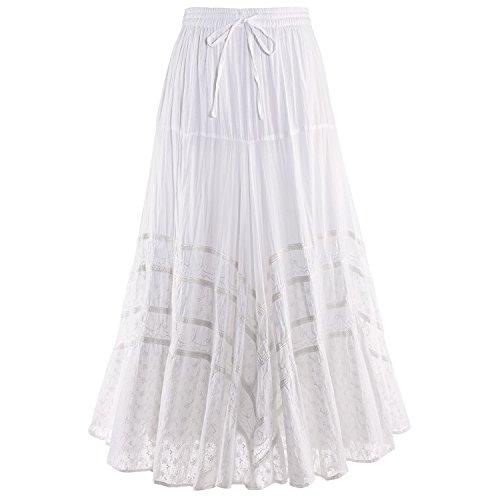 CATALOG CLASSICS Women's Embroidered Full Circle Maxi Skirt - White Tone-on-Tone - Small