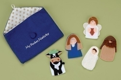My Pocket Nativity Felt Finger Puppets 6 Piece Set with Pouch