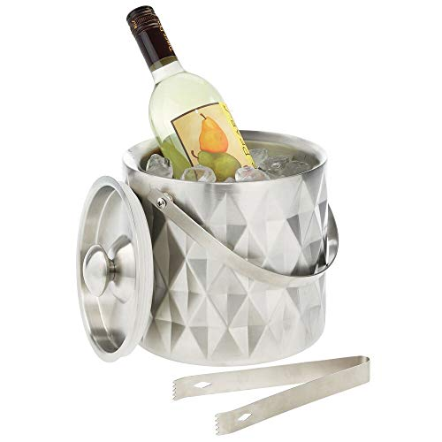 mDesign Modern Ice Bucket with Lid, Tongs and Handle – Double Wall Insulated Stainless Steel – for Entertaining, Parties, Barware – Holds Ice Cubes, Wine, Champagne – Brushed Stainless Steel