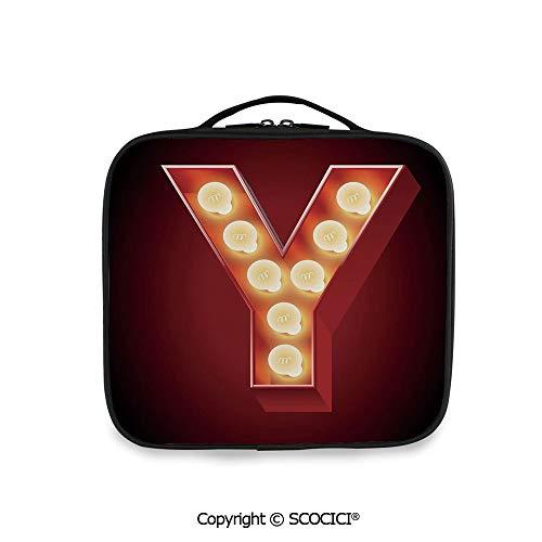 SCOCICI Printed Portable Storage Bag Casino Nightclub Inspired Alphabet Typography Entertainment Retro -