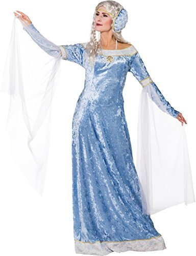 Ladies Long Ice Blue Medieval Maid Marian Renaissance Lady In Waiting TV Book Film Fancy Dress Costume Outfit (UK 10-12 (EU 38/40))]()