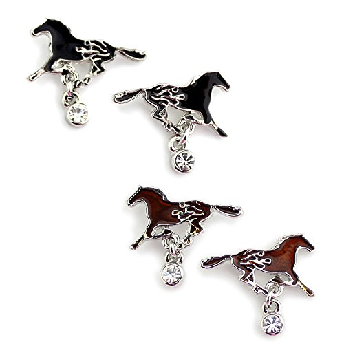 Western Fire Black or Brown Running Horse Earrings from the WYO-HORSE Jewelry Collection (Brown)