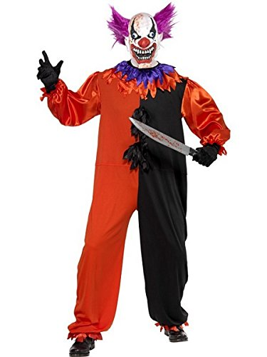 Smiffy's Men's Cirque Sinister Scary Bo Bo the Clown Costume, Jumpsuit and Mask, Cirque Sinister, Halloween, Size S, (Scary Halloween Costumes For Kids Uk)