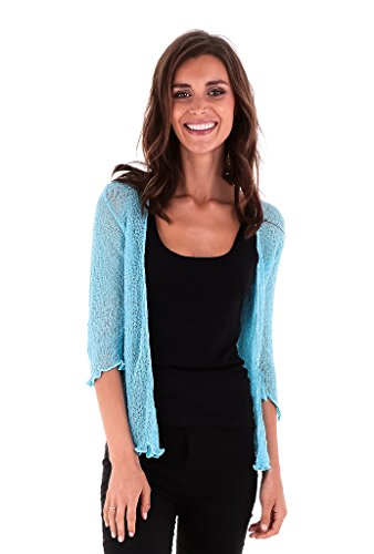 SHU-SHI Womens Sheer Shrug Tie Top Cardigan Lightweight Knit,Turquoise,One Size