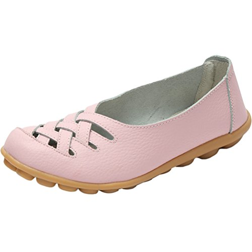 Women's Sandals New Slip ONS pink Style Loafers 1 Vogstyle Leather Flats Moccasins YTdWwnYOHU