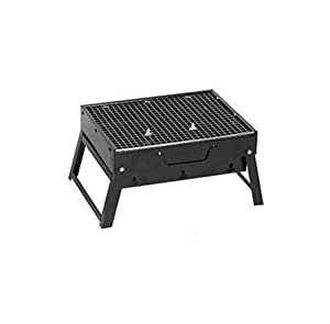 Portátil De Tipo Caja Plegable Portátil Parrilla Exterior De Leña Parrilla De Carbón De Acero Negro De Horno Hogar