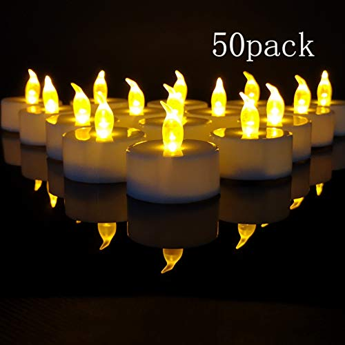 TEECOO Tea Lights, Flickering LED Tea Light Candles Flameless Candles LED Candles Φ3.4 x H3.6 50-Pack Battery Powered 100+ Hours(Warm Yellow,50-Pack)