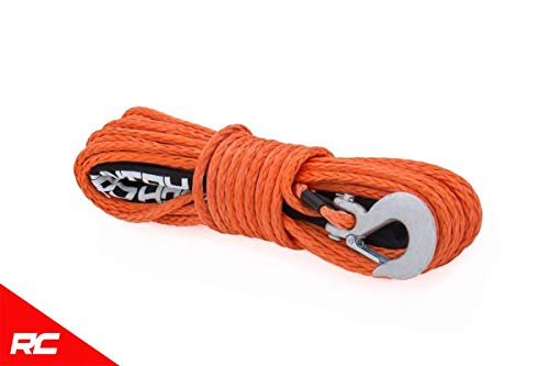 Rough Country Orange Synthetic Winch Rope w/Clevis Hook and Sleeve 85 FT Rated at 16,000 LBS RS111 Rope Orange