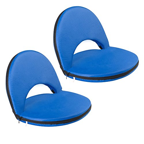 Ace Bench - AceLife Stadium Seat Adjustable Recliner Cushion for Bleachers or Benches - Set of 2, Blue