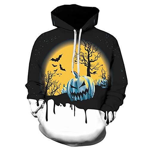 iDWZA Christmas Men Autumn Winter Halloween Printing Long Sleeve Sweatershirt Tops Blouse(Black,US L/CN XL)