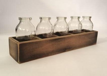 Cinco botellas de cristal pequeño del boda del embalaje de madera Bud Partido florero del vidrio