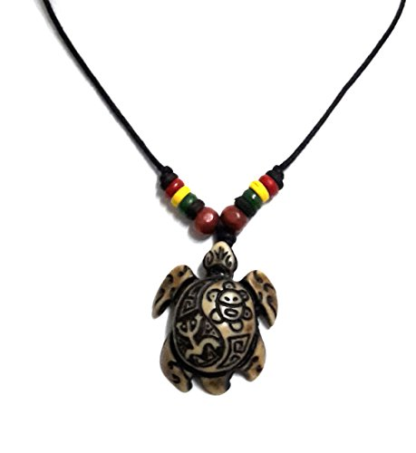 Rasta plaid Hippie Braid Hawaiian Turtle Necklace Yin Yang Coqui Taino Sun ()