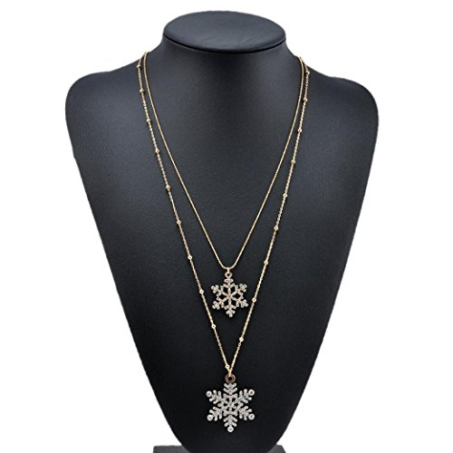- Alonea Snowflake Rhinestone Necklace, Long Necklace Sweater Double Layer Necklace (Gold)