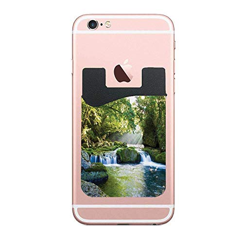 (ZninesOnhOLD Rainforest Waterfall Foliage Jungle Misty Mountains and Mossy Rocks View Print Green Gray Cell Phone Card Wallet Phone Card Pocket for iPhone Android Samsung Galaxy 2)