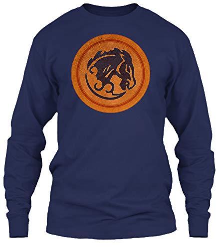 Bucking Bronco. 4XL - Navy Long Sleeve Tshirt - Gildan 6.1oz Long Sleeve Tee