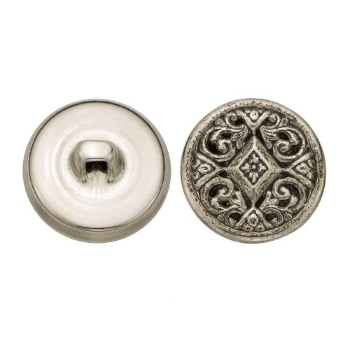 C&C Metal Products 5349 Filigree Metal Button, Size 30 Ligne, Antique Nickel, 36-Pack by C&C Metal Products Corp
