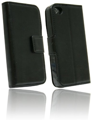 Elegante Buch-Tasche für das Iphone 4 / 4S in Schwarz Leder Optik Wallet Book-Style @ Energmix