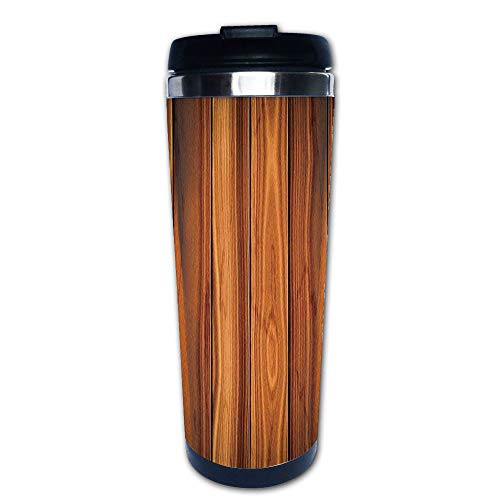 Stainless Steel Insulated Coffee Travel Mug,Bound Wood Line Timber Trunk Red Maple Stem Birch,Spill Proof Flip Lid Insulated Coffee cup Keeps Hot or Cold 13.6oz(400 ml) Customizable printing