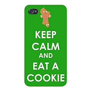 Apple Iphone Custom Case 5 5s Snap on - Keep Calm and Eat a Cookie Gingerbread Man