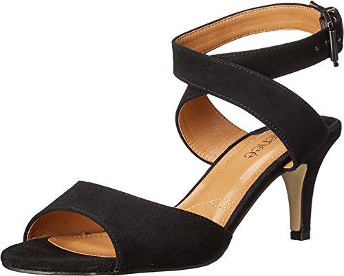 J. Renee Women's Soncino Ankle Strap Sandal,Black Suede,US 9.5 M